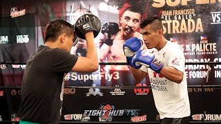 ASTON PALICTE LOOKING STRONG DURING MITT WORKOUT IN PREP FOR DONNIE NIETES TITLE FIGHT