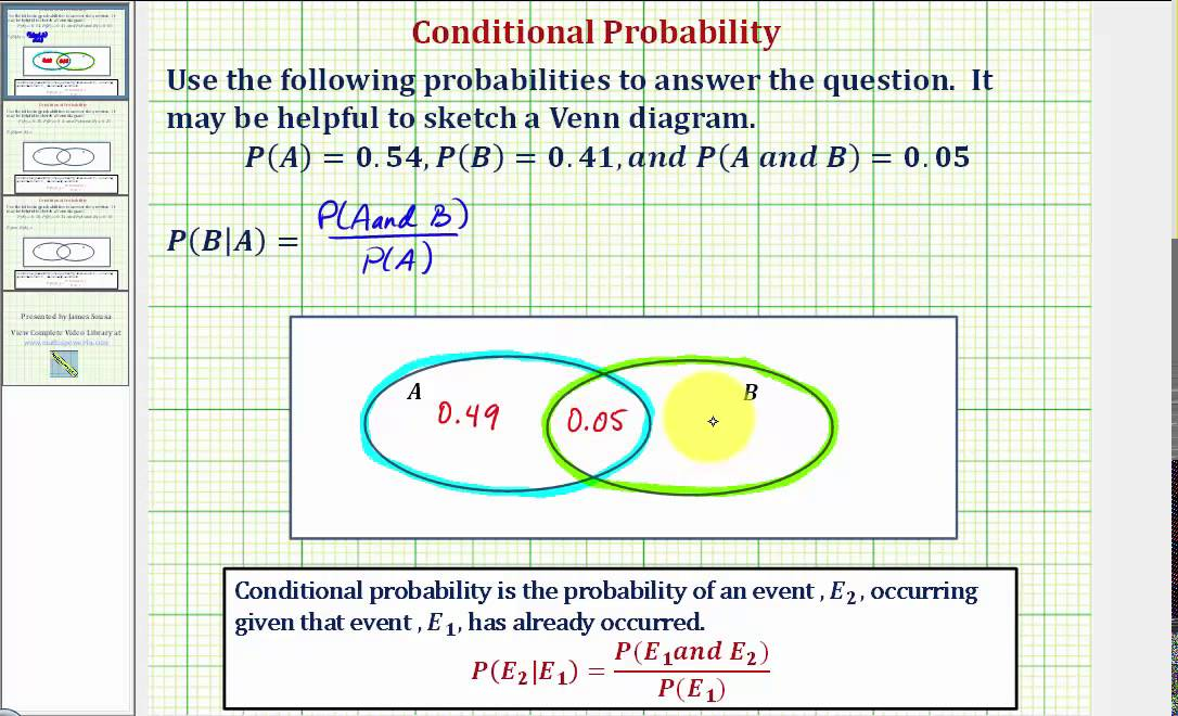Ex 1 Determine A Conditional Probability Using A Venn Diagram Pb