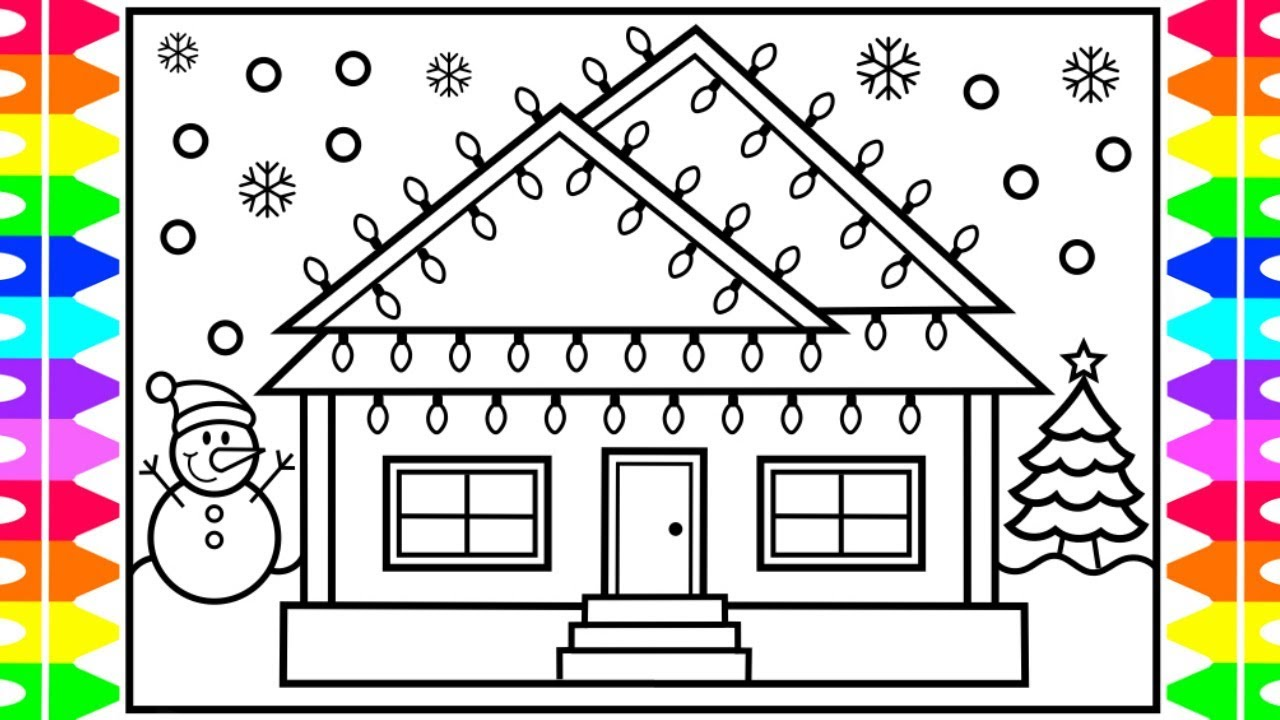 Christmas House Drawing.How To Draw A Christmas House With Lights House Drawing And Coloring Pages For Kids