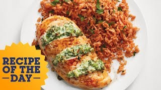 Cheesy Broccoli-Stuffed Chicken with Tomato Rice | Food Network