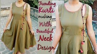 Trending kurti making with designer neck design