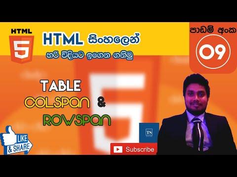 HTML Table Colspan & Rowspan : HTML in Sinhala - Lesson 09 | Tech Side