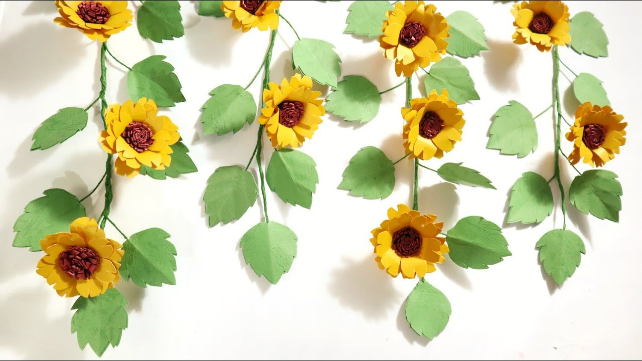 Diy Daun Rambat | Aesthetic Room Decor | Paper flowers wall hanging|Paper vines Leaf with sunflower