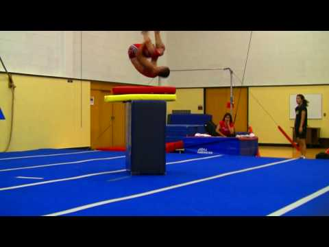 High Flips and Jumps at Gymnastics Practice