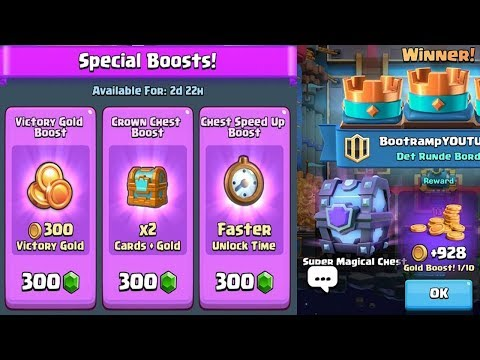 ALL NEW BOOSTS AND SUPER MAGICAL CHEST DROP :: Clash Royale :: NEW GOLDEN TOWER SKIN AND GOLD RUSH
