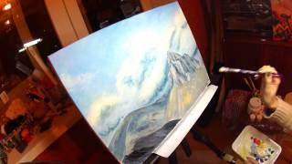 Как рисовать горы. Горный пейзаж акриловыми красками. DIY - How to draw mountains. 1 часть
