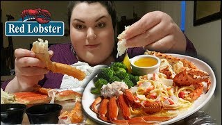 KING CRAB LEGS, SNOW CRAB LEGS AND CRAB ALFREDO PASTA RED LOBSTER MUKBANG