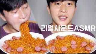 까르보불닭볶음면4봉 리얼사운드 먹방* Spicy Carbonara Ramen ASMR Eating Sounds Mukbang eating show