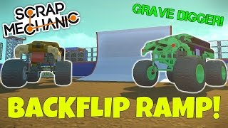 GRAVE DIGGER & BACKFLIP RAMP! - Scrap Mechanic Monster Jam Gameplay - EP 226 (World Download)
