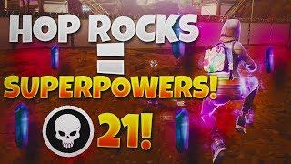 HOP ROCKS GIVE YOU SUPER POWERS! 21 KILL VICTORY ROYALE! (Fortnite Battle Royale)