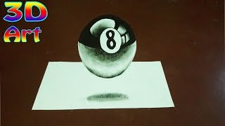 How to draw a 3D 8 Ball Pool -Trick Art For Kids | 3D Trick Art on Paper |