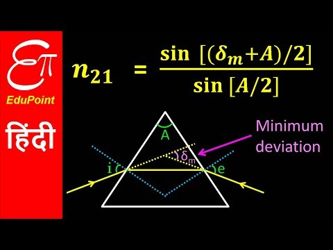 PRISM - Angle of Minimum Deviation (δm), Angle of Prism (A) and Refractive Index (n21)