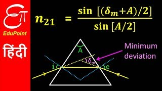 PRISM - Angle of Minimum Deviation (δm), Angle of Prism (A) and Refractive Index (n21) thumbnail