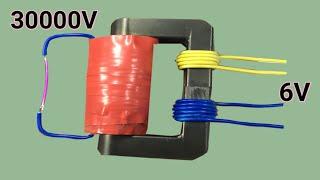 Homemade 6V to 30000V transformer