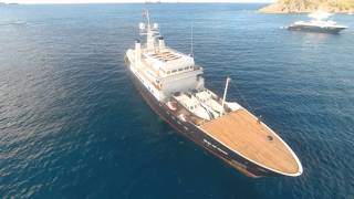 Expedition Yacht  Bleu De Nimes Le Colombier Bay St.Barth 2015 filmed by drone
