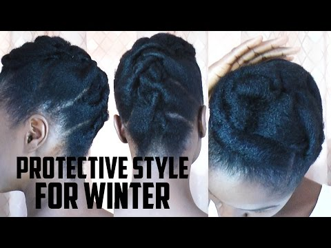 Tuck N Pin Updo PROTECTIVE Natural HAIRSTYLE For Winter Weather