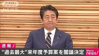 来年度予算案を閣議決定 過去最大102兆6580億円(19/12/20)