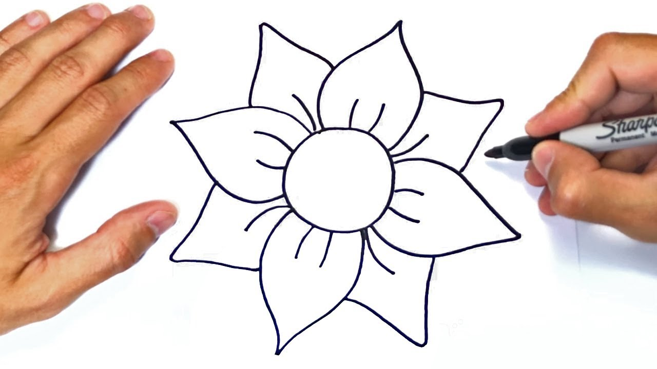 How To Draw A Flower Step By Step Easy Drawings Youtube