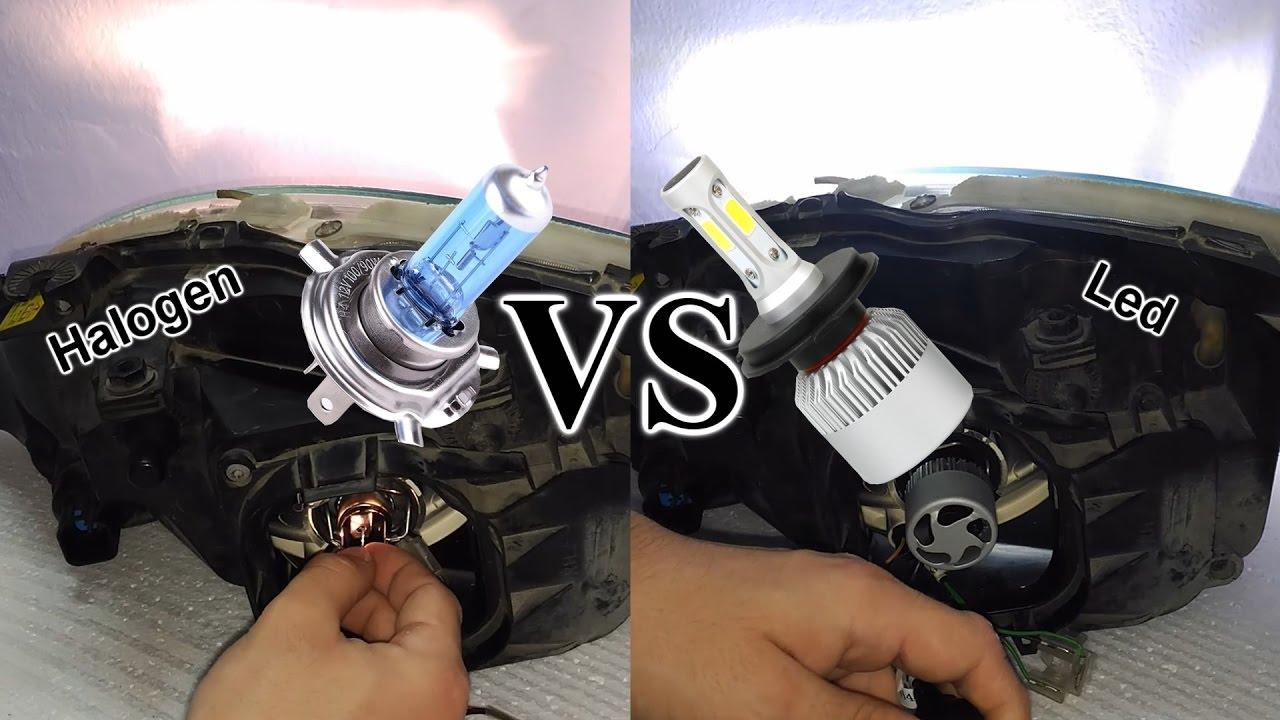 halogena vs ledinstalar bombilla led h en faros de coche