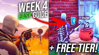 Fortnite Battle Pass Semaine 4 EASY GUIDE - FREE TIER!