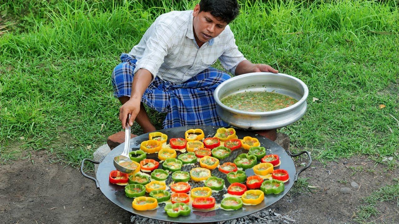 CAPSICUM OMELETTE | Bell Pepper Omelette Recipe | Village Food