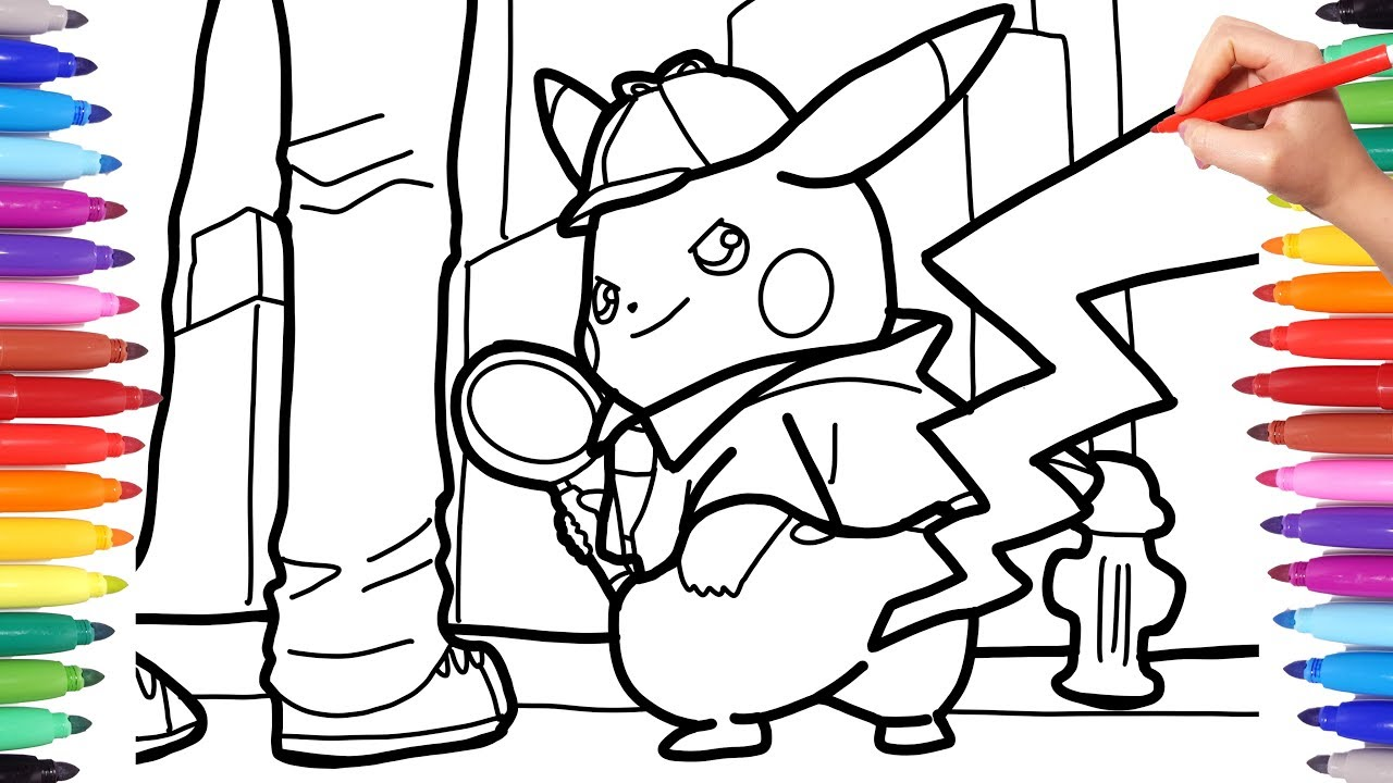 Detective Pikachu Coloring Pages for Kids, How to Draw Pokèmon Detective  Pikachu for Kids