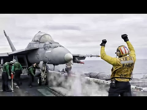 F/A-18 Super Hornets Launch From USS Theodore Roosevelt