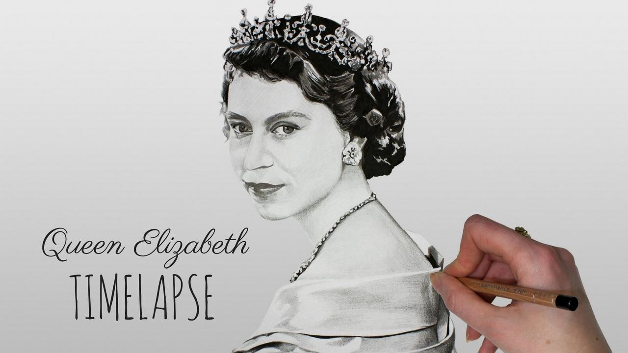 Speed Drawing Queen Elizabeth Ii Youtube
