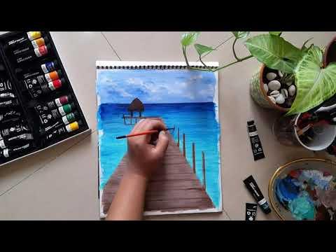 Tropical Paradise Beach🌊 // Landscape Acrylic Canvas Painting🌴