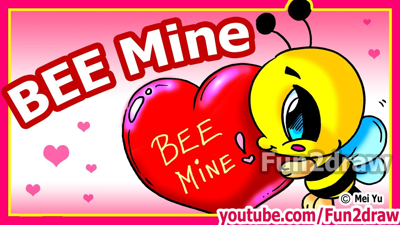 how to draw valentines cute cartoon bee heart fun2draw channel youtube
