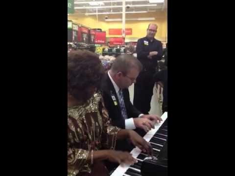 Piano Duet of Amazing Grace in Walmart