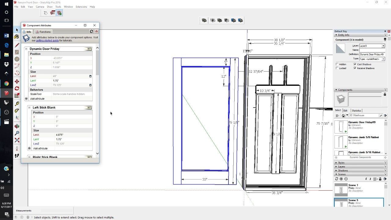 Doors Sketchup Components & Brown Folding Door In SketchUp
