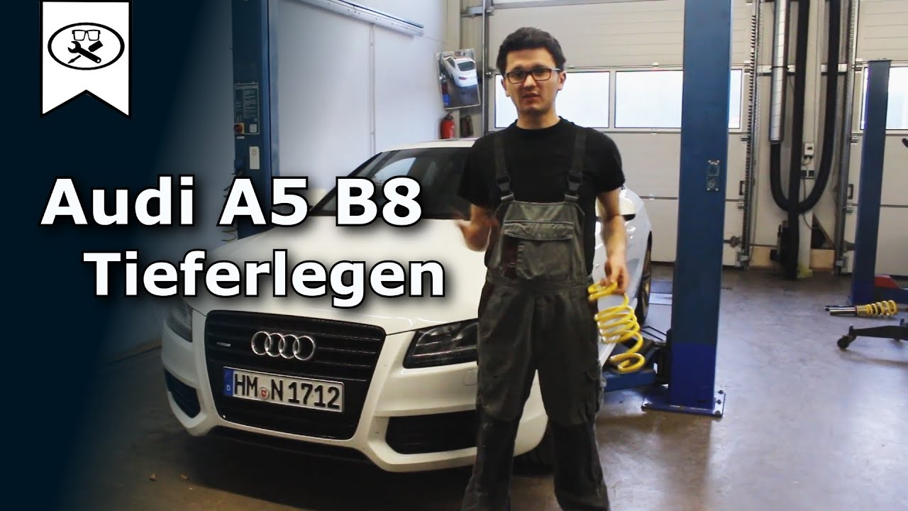 audi a5 b8 tieferlegen lowering springs install. Black Bedroom Furniture Sets. Home Design Ideas