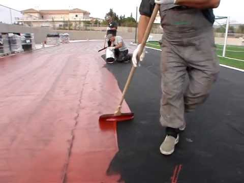 EPI Sports & Rubber Surfaces installation red coloured sealer ...