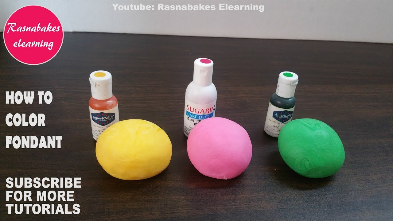 how to color fondant icing:coloring with yellow pink green gel  colors:birthday cake decorating