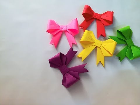 HOW TO MAKE EASY PAPER RIBBON/BOW ][ EASY BOW/RIBBON ][ DIY ORIGAMI TUTORIAL (EASY AND STEP BY STEP)