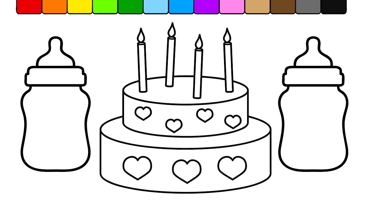 Learn Colors for Kids and Color this Baby Bottle Heart Birthday