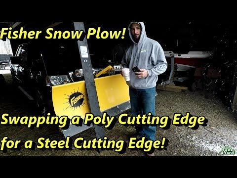 Fisher Snow Plow, Swapping A Poly Cutting Edge For A Steel Cutting Edge!