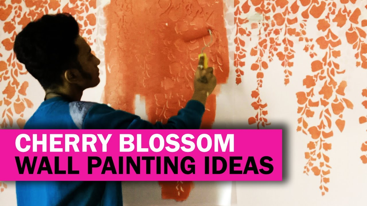 Bedroom Wall Painting Ideas Designs Bedroom Wall Designs Cherry Blossom Stencil Painting Youtube