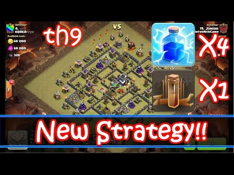 NEW Th9 Strategy December 2015 - 4 Lightning + 1 Earthquake Spells - Zap Quake - Clash Of Clans