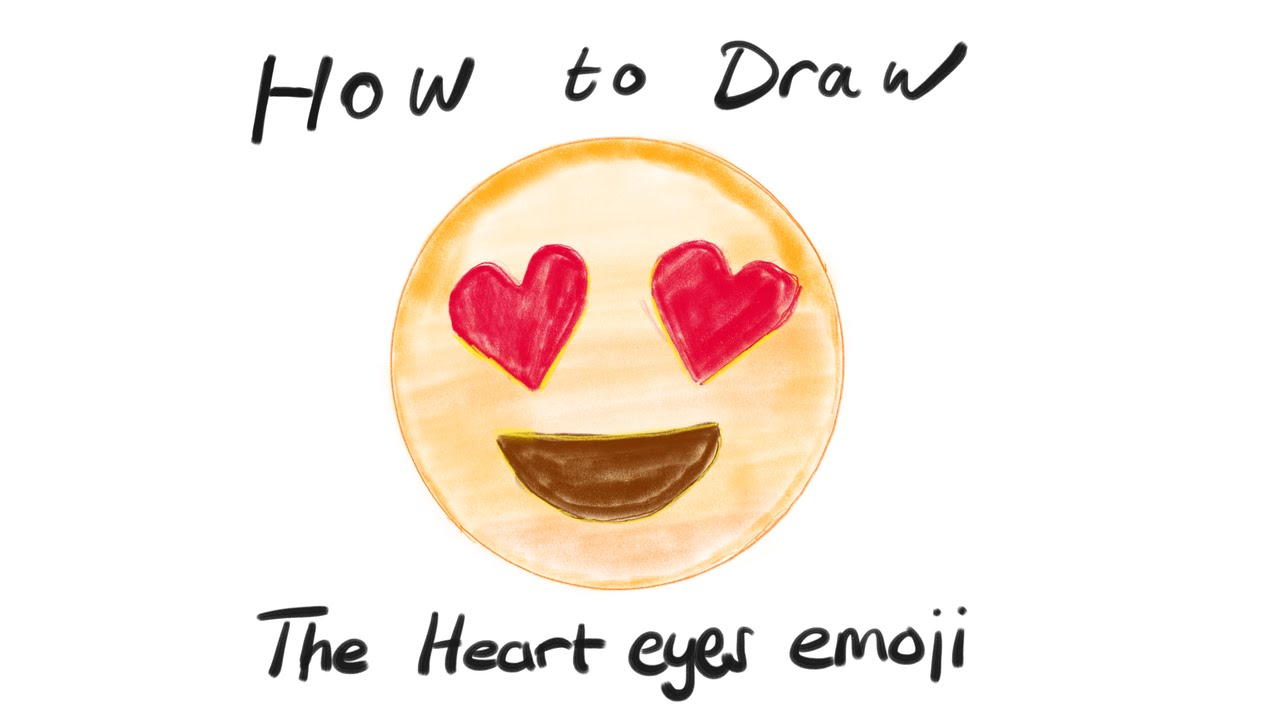 How To Draw The Heart Eyes Emoji Ud83dude0d - YouTube
