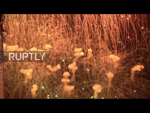 Russia: Stunning firework display illuminates Moscow skyline for V-Day