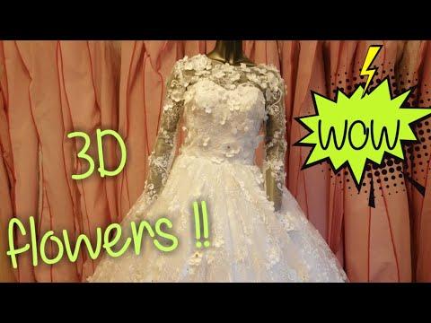dress-no.63-|-long-sleeves-3d-flowers-white-wedding-gown-with-long-train-|-فستان-زفاف-كم-طويل-ورد