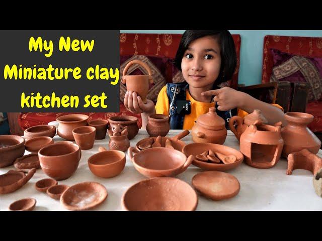 My New Miniature clay kitchen set | #LearnWithPari #Aadyansh