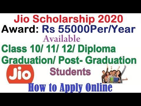 Jio Scholarship 2018-19  for Class 10th, 11th, 12th UG , PG