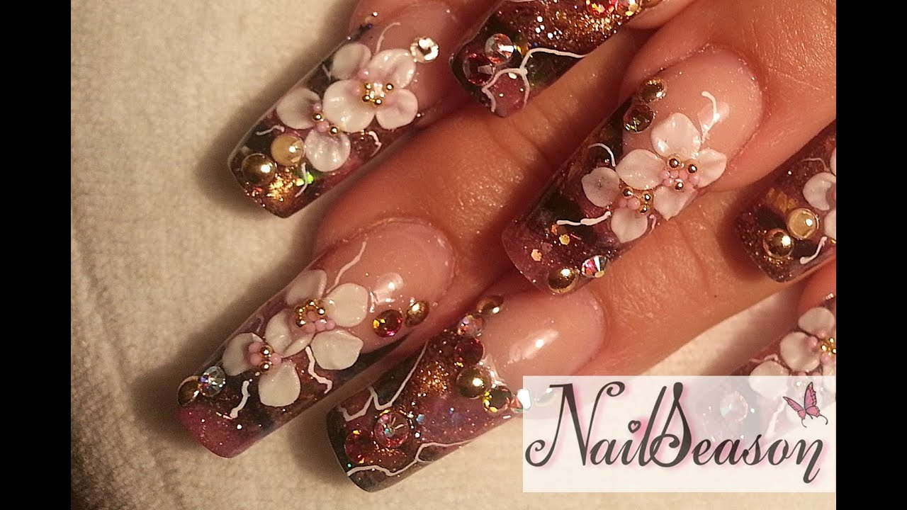 DIY Acrylic Nails tutorial 3D flowers Nail art step by ...