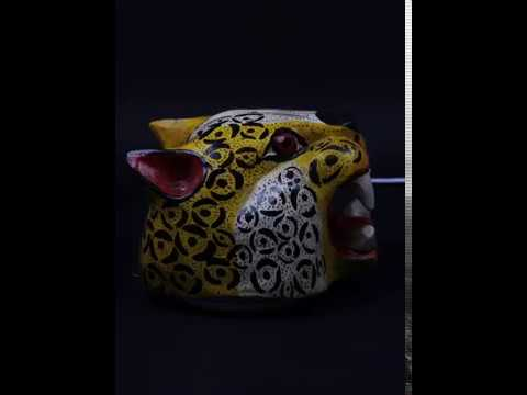 Mexican Folk Art Jaguar Hand Carved Coral Wood Mask from Guerrero, Mexico