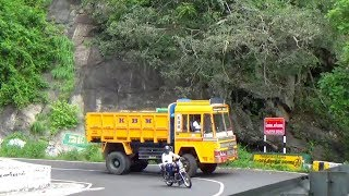 Tipper Lorry And Car Bike Turning Hairpin Bend Hills Road Monkey Crossing Yercaud Hills Salem