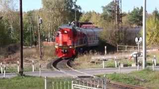 Heavy Russian Overnight Train on an Abandoned Track / Saint Petersburg
