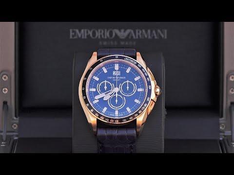 Emporio Armani Swiss Made Rose Gold Chronograph Watch ARS9106 [4K]
